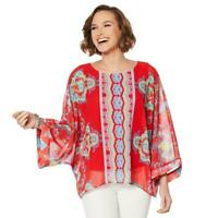 Colleen Lopez Printed Poncho Top with Tank Coral Size M #648163 HSN