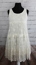 Lace dress M cream  Noa Noa beads romantic boho sleeveless empire French Paris