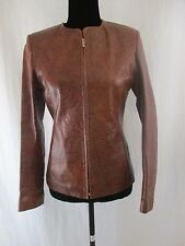 PELETERIA SOLSONA Barcelona Genuine Brown Women Leather Jacket Size 36; S; 6