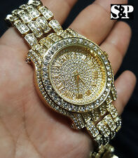 Men Best Hip Hop Iced out Bling Gold PT Rapper's Bling Simulated Diamond Watch