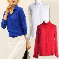 New Womens Blouse Chiffon Long Sleeve Ladies Top T shirt Loose Casual Short Tops