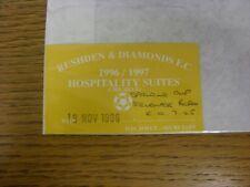 19/11/1996 BIGLIETTO: rushden e diamanti V Stevenage BOROUGH [Spalding COPPA] [aeroambulanza