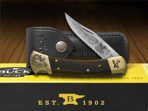 Buck 110 Wooden Whitetail Buck Scrolled Bolster Folding Hunter Knives