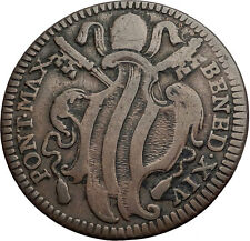 1740AD PAPAL Rome POPE BENEDICT IV Coat of Arms Authentic Antique Coin i60040