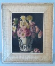 "Framed Floral Antique Painting on Board Listed Italian Artist ""Rudolfo Novelli"""