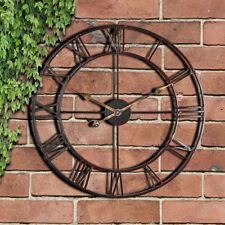 Large Indoor Outdoor Garden Wall Clock Roman Numerals Giant Open Face Metal 58cm