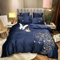 Luxury Butterfly Embroidery Egyptian Cotton Bedding Set Cover Set Bed Linen