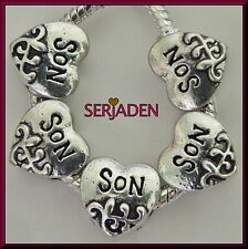 5 Son Heart Charm Spacers Beads 11 x 11 & 5 mm hole Fits European Jewelry S012