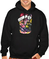 Christmas Neon Cat Men/'s Hoodie BlackRed  All size S-2XL