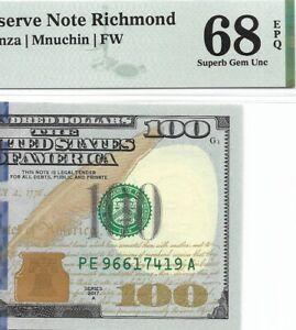 2017A $100 RICHMOND FRN, PMG SUPERB GEM UNCIRCULATED 68 EPQ BANKNOTE