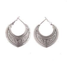 Women Vintage Bohemian Boho Style Flower Carved Heart Shape Dangle Stud Earrings