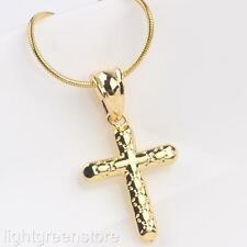 Real 24K Yellow Gold Filled Pattern Mini Cross Pendant Necklace Womens Jewelry