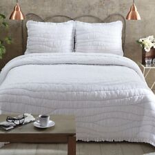 White Cotton King Quilt (only) Gray Hand Ruched Waves Ruffled Edge Aurora