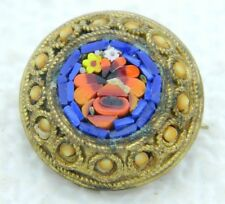 Antique Italy Italie Gold Toned Blue Red Micro Mosaic Flowers Glass Pin Brooch
