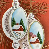 Vintage Mid Century Christmas Greeting Card Diorama Ornaments Red Background