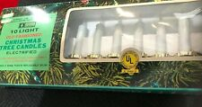 10 Old Fashioned Clip On Christmas Tree Candle Holders With Candles - Gold Tin