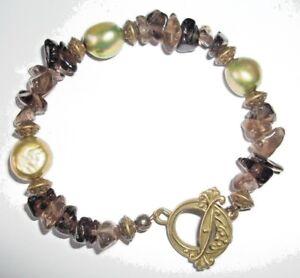 Green Cultured Pearl and Smokey Quartz Gemstone Bracelet