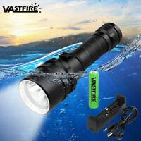 10000LM Scuba Diving XM-L T6 LED Powerful Dive Flashlight 18650 Underwater 100m