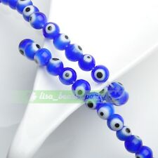 6mm 50pcs Round Lampwork Glass Crystal Dots Charms Loose Spacer Beads Deep Blue