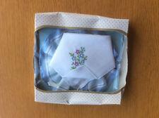New Vintage Boxed 2x Ladies Handkerchiefs, White & Blue Cotton Floral Embroidery