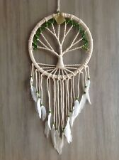 Tree Of Life Dream Catcher 32cm x 85cm Green Beads & White Feathers