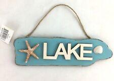 LAKE Nautical Wall Wood Sign Plaque w/ Starfish and Beach Shell Decor