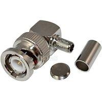BNC Male Plug Right Angle Crimp for RG58 RG400 RFC195 RF Coax Adapter connector