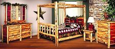 Rustic Red Cedar Log QUEEN SIZE CANOPY Bedroom Suite - Amish Made in USA