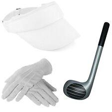 White Visor Hat Inflatable Golf Club & Gloves Poker Kit Unisex Adult Pub Golfing
