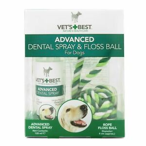 Vets Best Advanced Dental Spray Floss Rope Ball Cleans Dogs Teeth Plaque Tartar