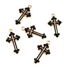 22213 20X/lot Gold Enamel Faith Cross Pendant DIY Jewelry