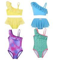 Kids Girls Tankini Swimsuit Ruffled One-shoulder Swimwear Bathing Suit Beachwear