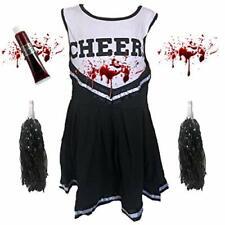 CHILD OR ADULT ZOMBIE CHEERLEADER SCHOOL DEAD FANCY DRESS COSTUME HALLOWEEN BLK