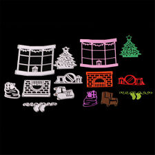 Christmas window Framed Cutting Dies Stencil Scrapbook Paper Cards Craft DIY UK