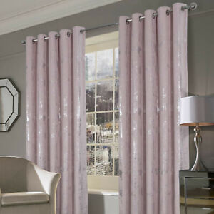 Margo Pink Embossed Velvet Ring Top Eyelet Curtains With Thermal Interlining