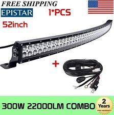 52inch 300W Curved LED Light Bar Offroad Bumper Roof Truck SUV+Wiring Harness
