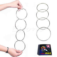 4Pcs Magic Chinese Linking Rings Set Magnetic Lock Kids Party Show Stage Trick