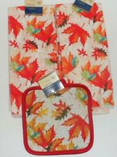 AUTUMN FALL LEAVES PRINT SET OF 4 HAND DISH TOWELS OVEN STOVE KITCHEN POTHOLDERS