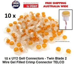 10 pcs UY2 Gell Connectors Twin Blade 2 Wire Gel Filled Crimp Connector TELCO