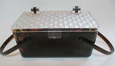 Vintage 1950s Lucite Box Purse Brown Amber Marbled Tortoiseshell