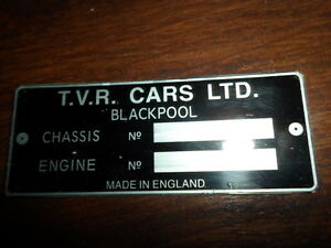 Nameplate Vintage Tvr Sign Id Plate s1 Black