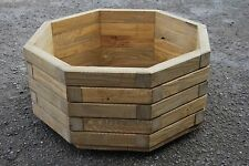 Wooden octagonal Pot 57cm Long of Solid Wood Spruce in Light Brown Color