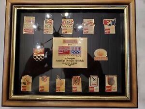 1992 Barcelona Olympic Hopefuls Pin Set 13 Pieces Framed USA Coke Pharmor NEW
