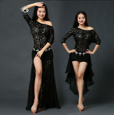 Oriental Dance Belly Dance Costume Suits Club Stage One-piece Skirt Dress Lace