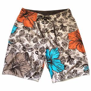 Quicksilver Men's Skeleton Day Of the Dead Floral Swim Board Shorts Size 34
