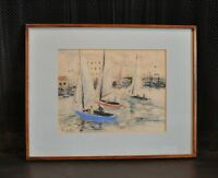 Vintage Pen & Ink Watercolor Painting - Sailboats Heading Into Harbor - Ro VaRul