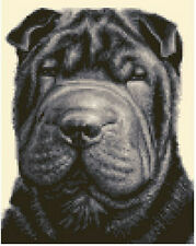 SHAR PEI dog, puppy - complete counted cross stitch kit