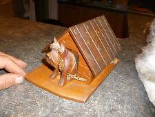 Ancien Distributeur à Cigarette : Bois Sculpté Chien & Niche Scottich Terrier