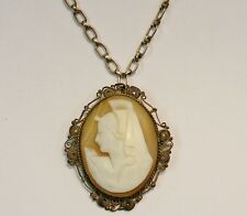 ANTIQUE VICTORIAN 800 FINE SILVER CARVED CAMEO BROOCH NECKLACE w CHAIN