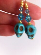 Earrings Skull Skulls New Crystal Turquoise Golden
